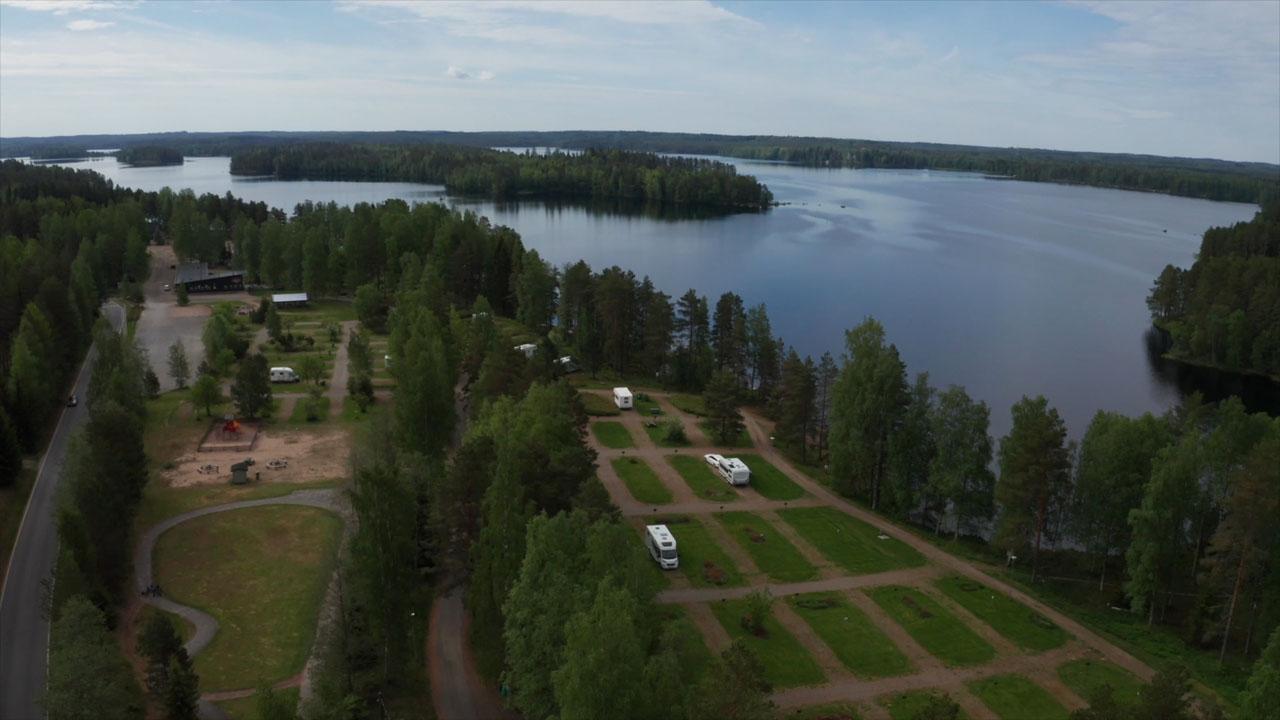 Camping alue ilmakuvassa